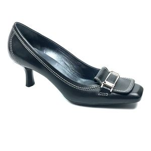 Cole Haan Leather Kitten Heel with Buckle Size 8.5